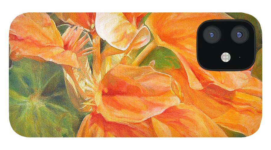 Floral Painting IPhone 12 Case featuring the painting Capucine by Muriel Dolemieux