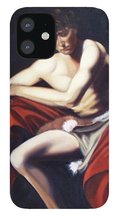 Caravaggio IPhone 12 Case featuring the painting Caravaggio's John the Baptist study by Toni Berry