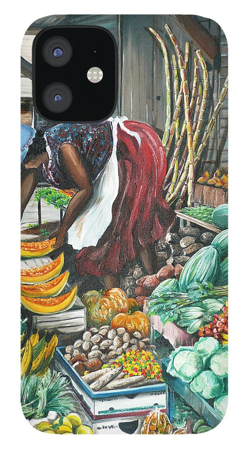 Caribbean Painting Market Vendor Painting Caribbean Market Painting Fruit Painting Vegetable Painting Woman Painting Tropical Painting City Scape Trinidad And Tobago Painting Typical Roadside Market Vendor In Trinidad IPhone 12 Case featuring the painting Caribbean Market Day by Karin Dawn Kelshall- Best