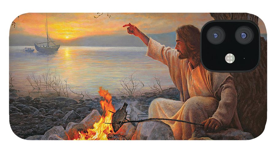 Jesus IPhone 12 Case featuring the painting Cast Your Nets on the Right Side by Greg Olsen