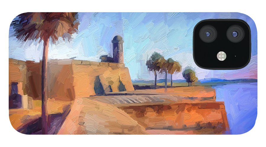 St. Augustine IPhone 12 Case featuring the digital art Castillo Rampart by Scott Waters