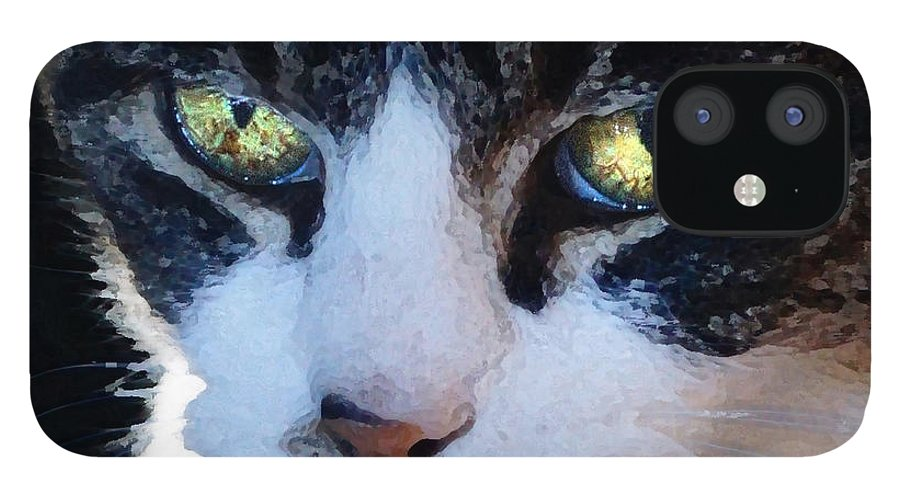 Cat IPhone 12 Case featuring the digital art Cat Eyes by Jana Russon