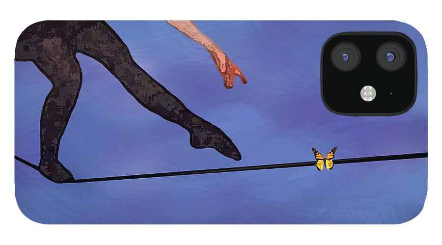 Surreal IPhone 12 Case featuring the painting Catching Butterflies by Steve Karol