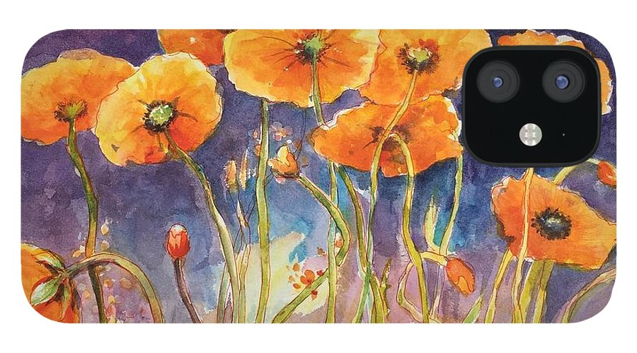 Poppies IPhone 12 Case featuring the painting Catching The Light by Caroline Patrick