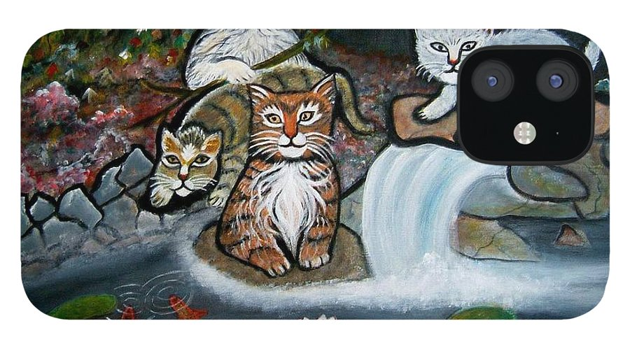 Acrylic Art Landscape Cats Animals Figurative Waterfall Fish Trees IPhone 12 Case featuring the painting Cats In The Wild by Manjiri Kanvinde