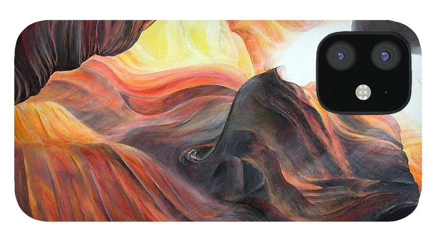 Landscape IPhone 12 Case featuring the painting Caverne by Muriel Dolemieux