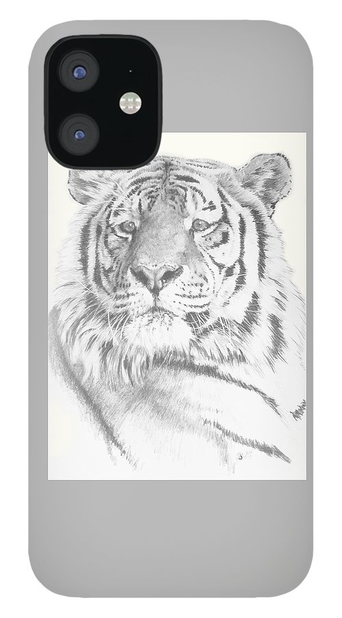 Tiger iPhone 12 Case featuring the mixed media Charisma by Barbara Keith