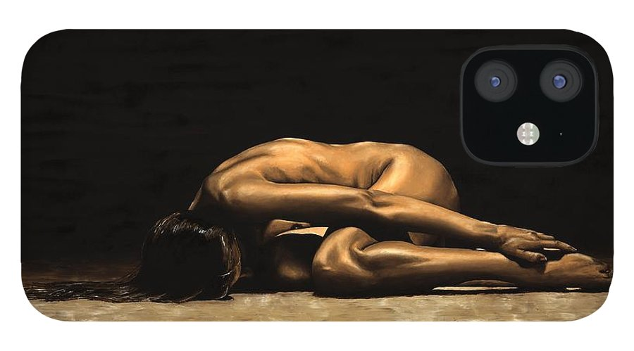 Nude IPhone 12 Case featuring the painting Chastity by Richard Young