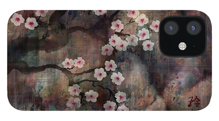Landscape IPhone 12 Case featuring the digital art Cherry Blossoms by William Russell Nowicki