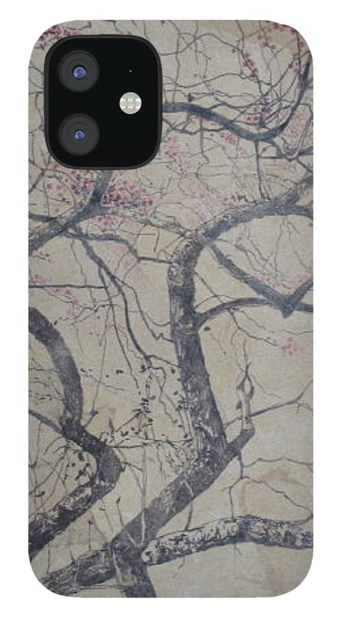 Crab Apple IPhone 12 Case featuring the painting Prairie Fire by Leah Tomaino