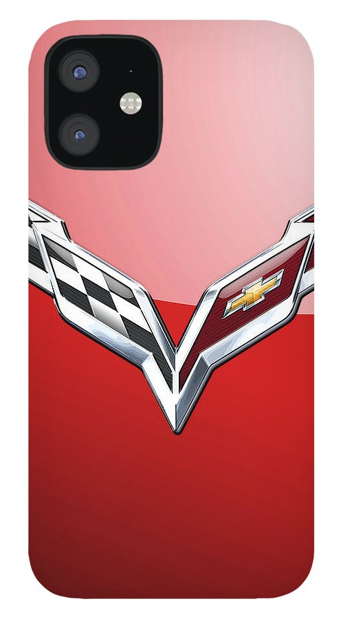 'wheels Of Fortune' Collection By Serge Averbukh IPhone 12 Case featuring the photograph Chevrolet Corvette - 3d Badge On Red by Serge Averbukh
