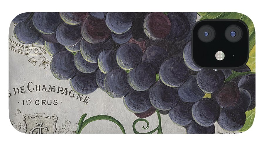 Grapes IPhone 12 Case featuring the painting Vins de Champagne 2 by Debbie DeWitt