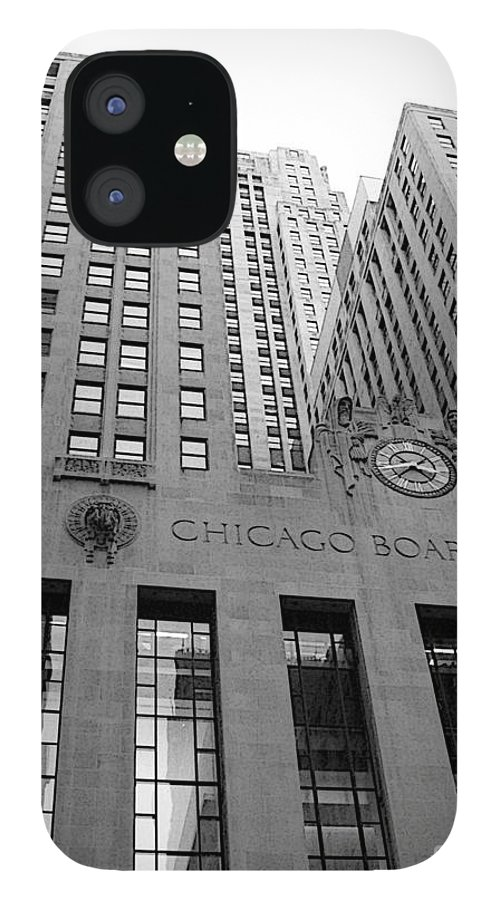 Black And White IPhone 12 Case featuring the photograph Chicago Board of Trade by David Bearden