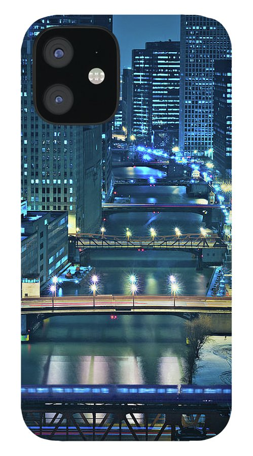 Chicago IPhone 12 Case featuring the photograph Chicago Bridges by Steve Gadomski