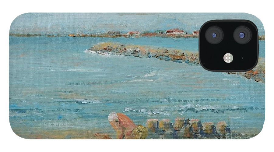 Beach IPhone 12 Case featuring the painting Child Playing at Provence Beach by Nadine Rippelmeyer
