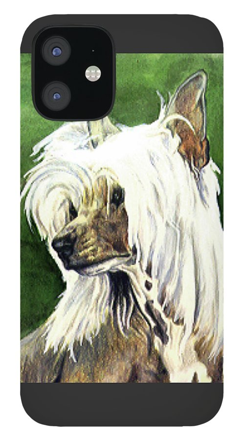 Art IPhone 12 Case featuring the painting Chinese Crested by Kathleen Sepulveda