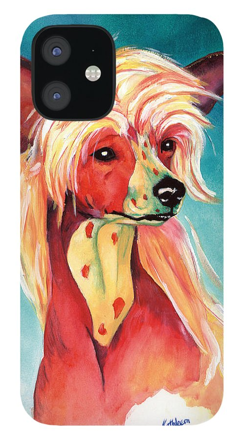 Art IPhone 12 Case featuring the painting Chinese Crested Sunset by Kathleen Sepulveda