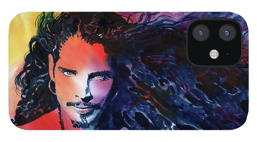 Soundgarden IPhone 12 Case featuring the painting Chris Cornell by Ken Meyer jr