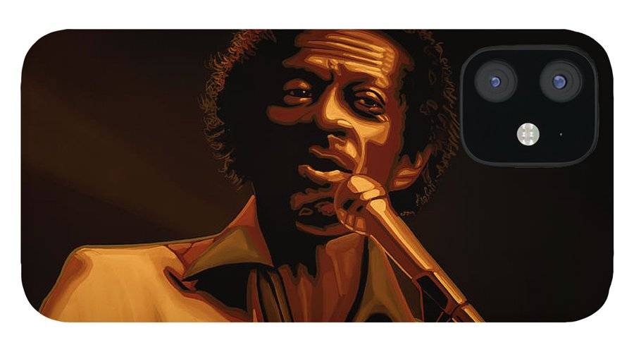 Chuck Berry IPhone 12 Case featuring the mixed media Chuck Berry Gold by Paul Meijering