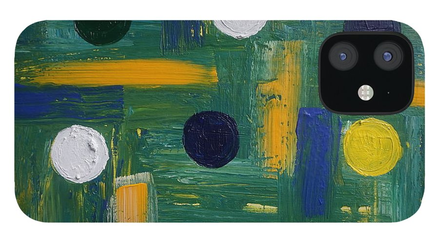 Abstract IPhone 12 Case featuring the painting Circles by Jimmy Clark