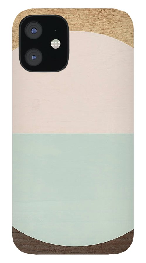 Modern IPhone 12 Case featuring the mixed media Cirkel in Peach and Mint- Art by Linda Woods by Linda Woods
