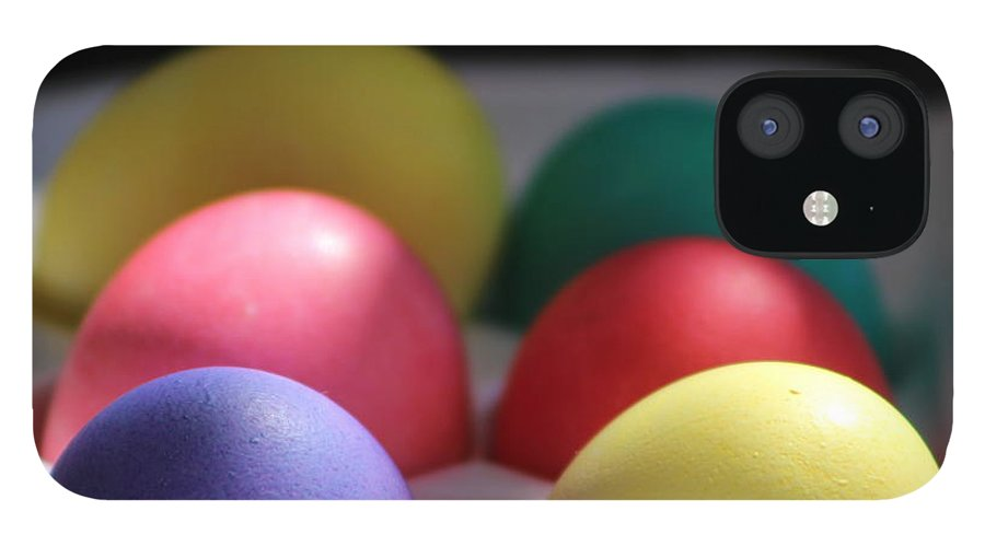 Dye IPhone 12 Case featuring the photograph Citrus and Ultra Violet Easter Eggs by Colleen Cornelius