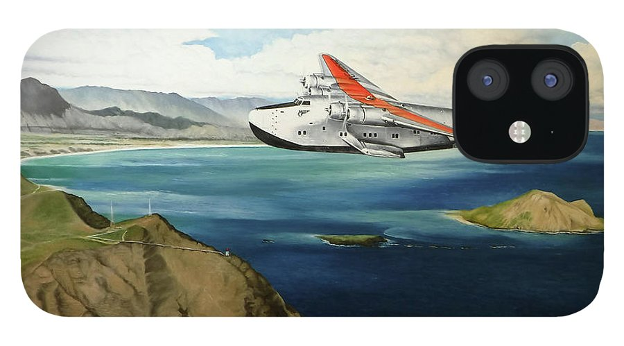 Clipper iPhone 12 Case featuring the painting Clipper at the Makapu'u Light by Marcus Stewart