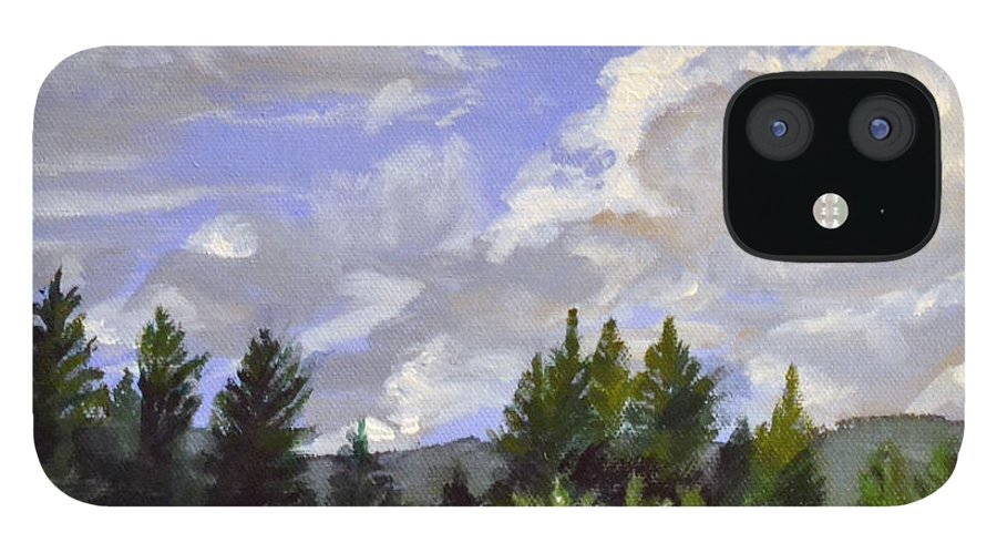 Clouds IPhone 12 Case featuring the painting Clouds Over Lace by Mary Chant