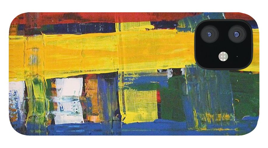 Red IPhone 12 Case featuring the painting Club House by Pam Roth O'Mara