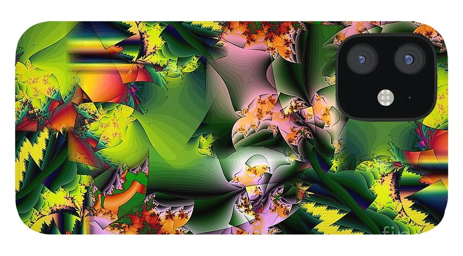 Fractal IPhone 12 Case featuring the digital art Collage in Green and Lavender by Ron Bissett