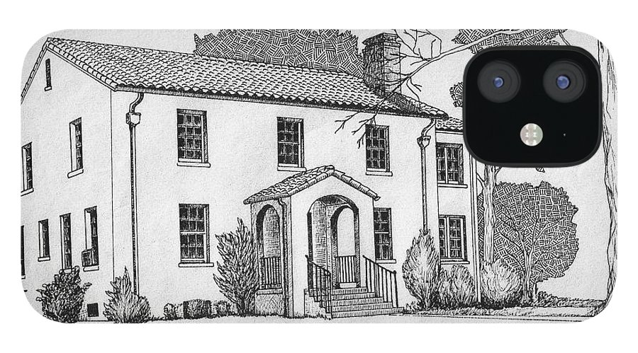Drawing - Pen And Ink IPhone 12 Case featuring the drawing Colonel Quarters 2 - Fort Benning GA by Marco Morales