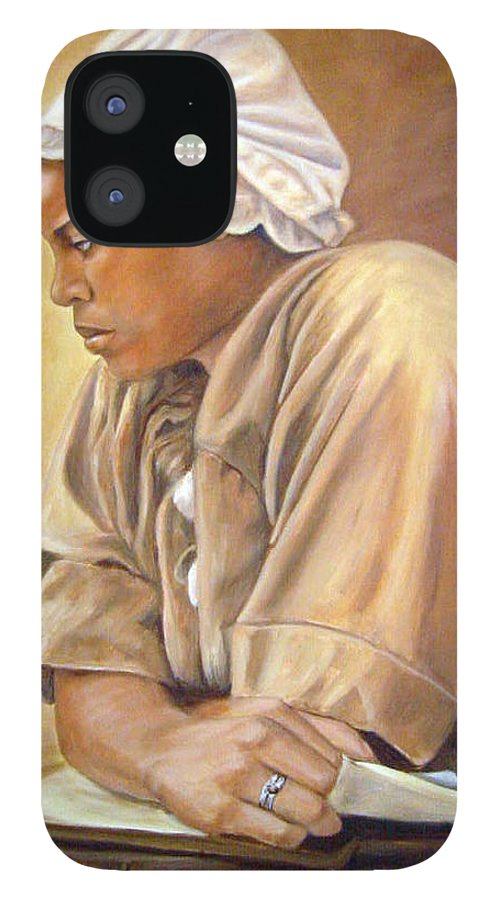 Portrait IPhone 12 Case featuring the painting Colonial Serving Girl by Anne Kushnick