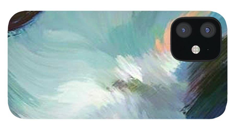 Landscape Digital Art IPhone 12 Case featuring the digital art Color Falls by Anil Nene