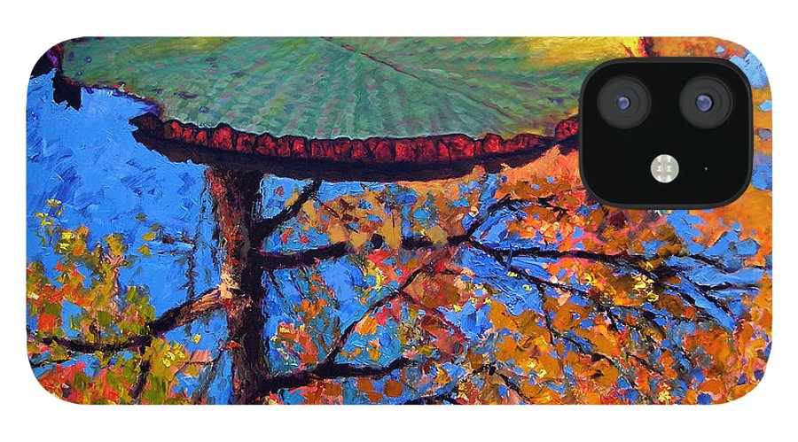 Fall IPhone 12 Case featuring the painting Colors of Fall on the Lily Pond by John Lautermilch