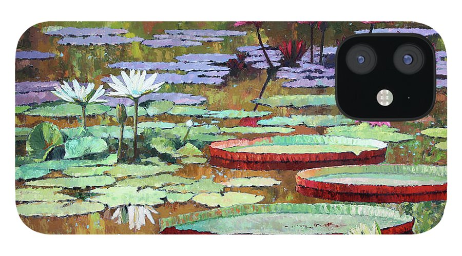 Garden Pond IPhone 12 Case featuring the painting Colors on the Lily Pond by John Lautermilch