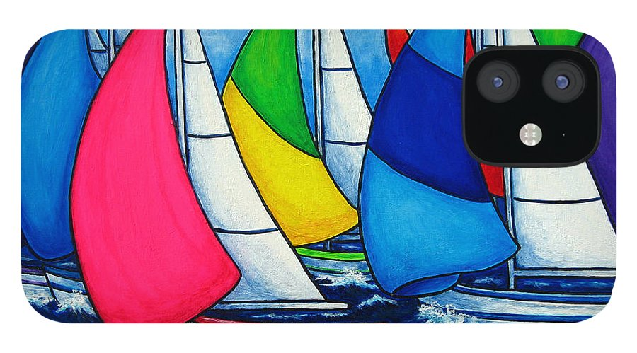 Boats IPhone 12 Case featuring the painting Colourful Regatta by Lisa Lorenz