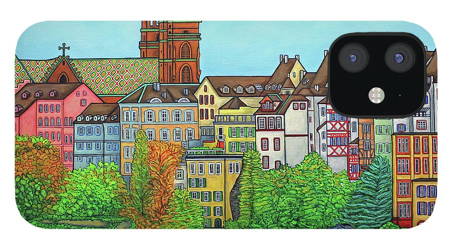 Lisa Lorenz IPhone 12 Case featuring the painting Basel, Colours of Basel by Lisa Lorenz