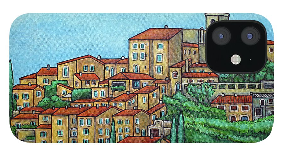 Provence IPhone 12 Case featuring the painting Colours of Crillon-le-Brave, Provence by Lisa Lorenz