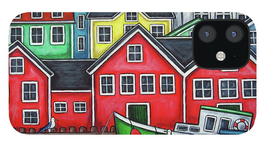 Nova Scotia IPhone 12 Case featuring the painting Colours of Lunenburg by Lisa Lorenz