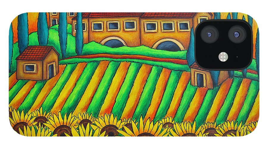 Tuscany IPhone 12 Case featuring the painting Colours of Tuscany by Lisa Lorenz