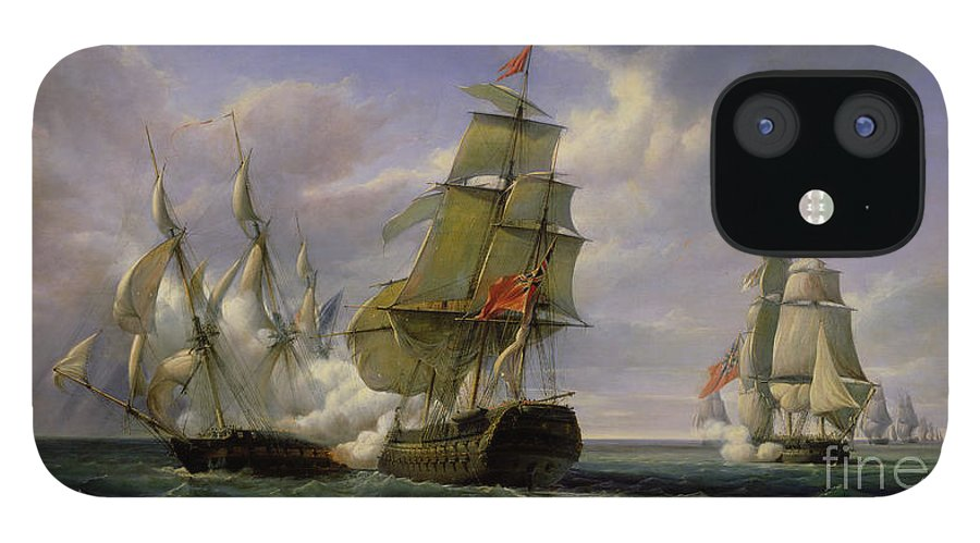 Combat IPhone 12 Case featuring the painting Combat between the French Frigate La Canonniere and the English Vessel The Tremendous by Pierre Julien Gilbert