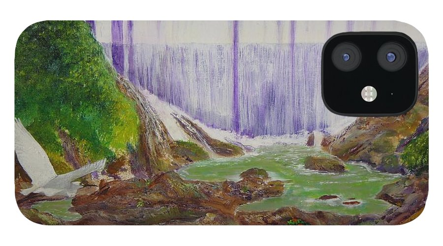 Snowy Egret iPhone 12 Case featuring the painting Comerio Dam by Tony Rodriguez