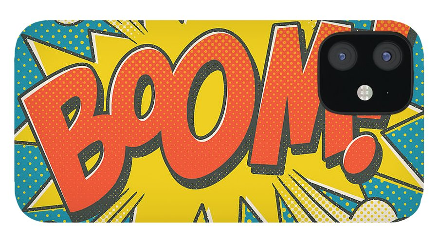 Comic IPhone 12 Case featuring the digital art Comic Boom on Blue by Mitch Frey
