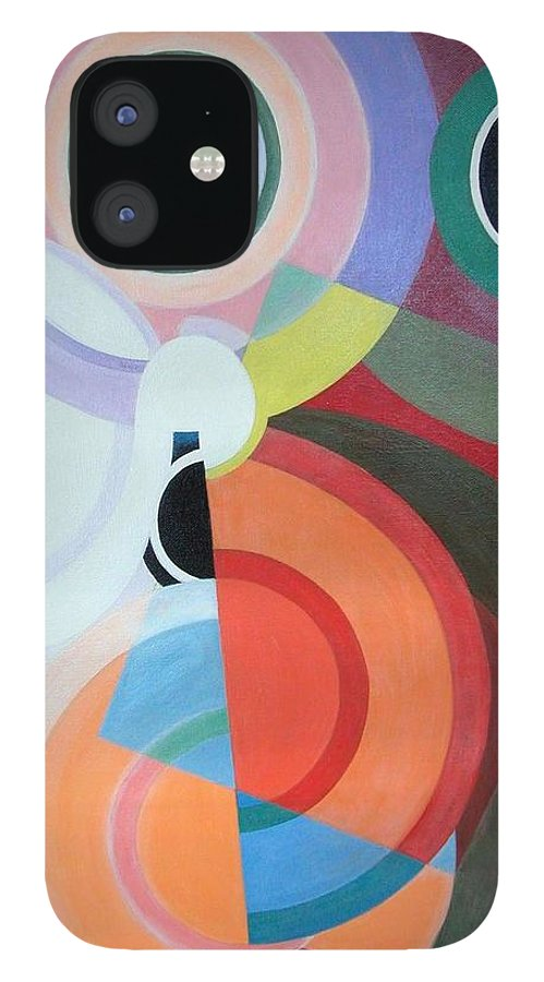 Abstract IPhone 12 Case featuring the painting Complement by Muriel Dolemieux