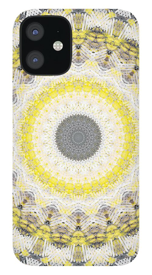Concrete iPhone 12 Case featuring the painting Concrete and Yellow Mandala- Abstract Art by Linda Woods by Linda Woods