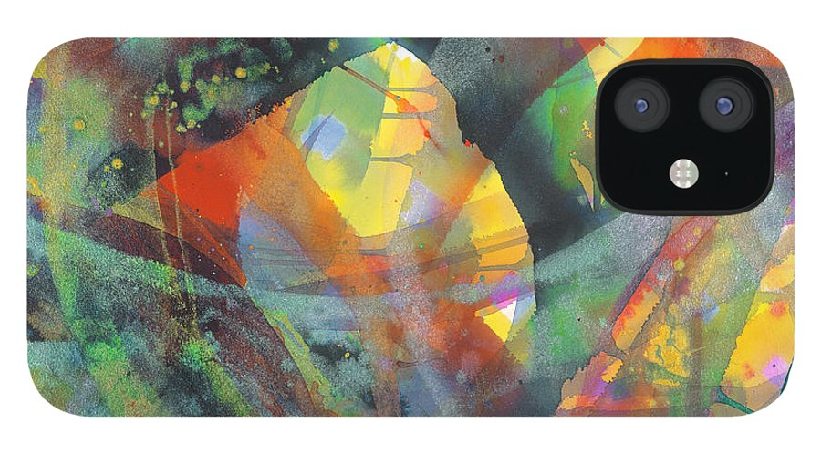 Abstract IPhone 12 Case featuring the painting Connections by Lucy Arnold