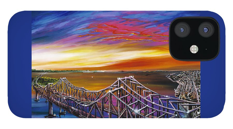 Clouds IPhone 12 Case featuring the painting Cooper River Bridge by James Christopher Hill