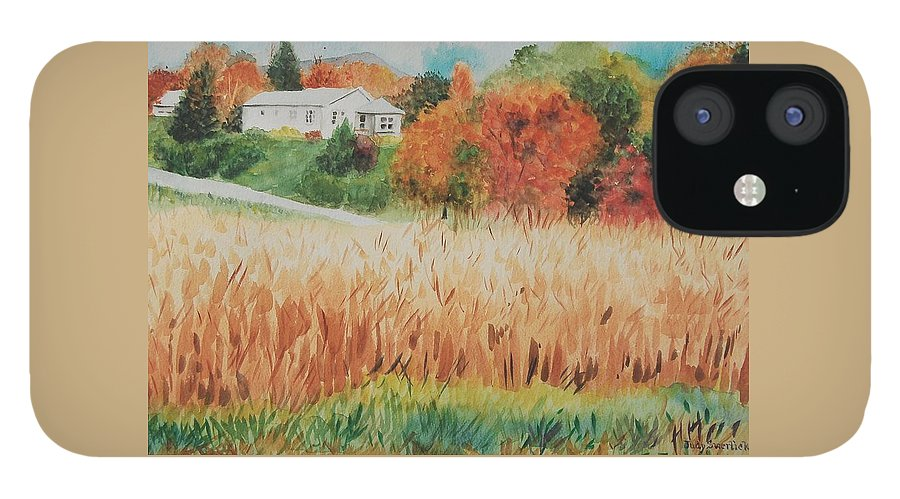 Autumn iPhone 12 Case featuring the painting Cornfield in Autumn by Judy Swerlick