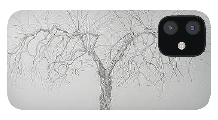 Cortland Apple Tree IPhone 12 Case featuring the drawing Cortland Apple by Leah Tomaino