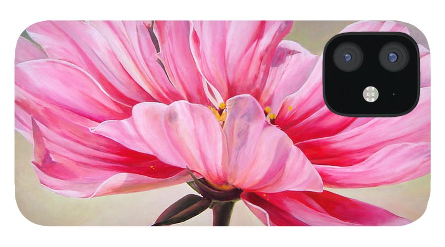 Floral Painting IPhone 12 Case featuring the painting Cosmos de bullion by Muriel Dolemieux